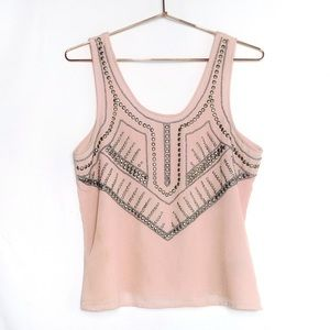 Blush Pink Urban Outfitters Beaded Blouse